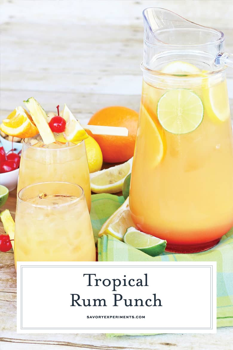 Fruity tropical rum punch