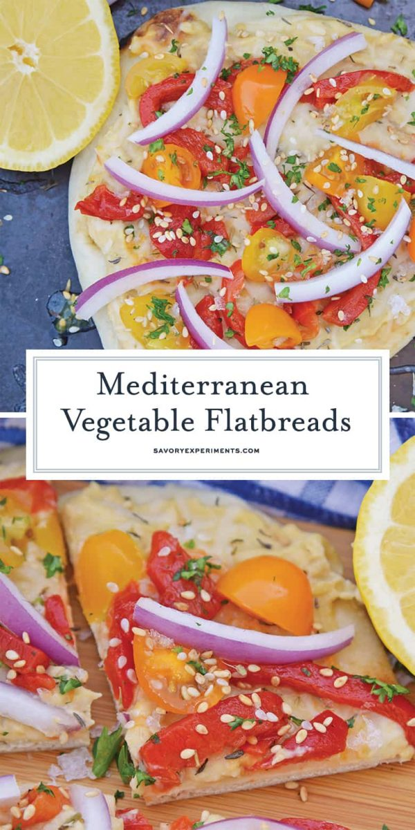 Mediterranean vegetable flatbreads for pinterest