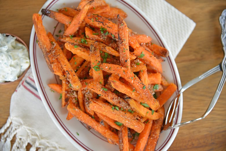 Serving plate of seasoned sweet potato fries