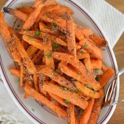 plate of cinnamon sugar sweet potato fries