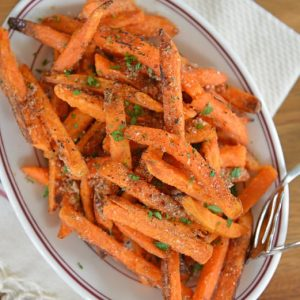 plate of cinnamon sugar sweet potato fries
