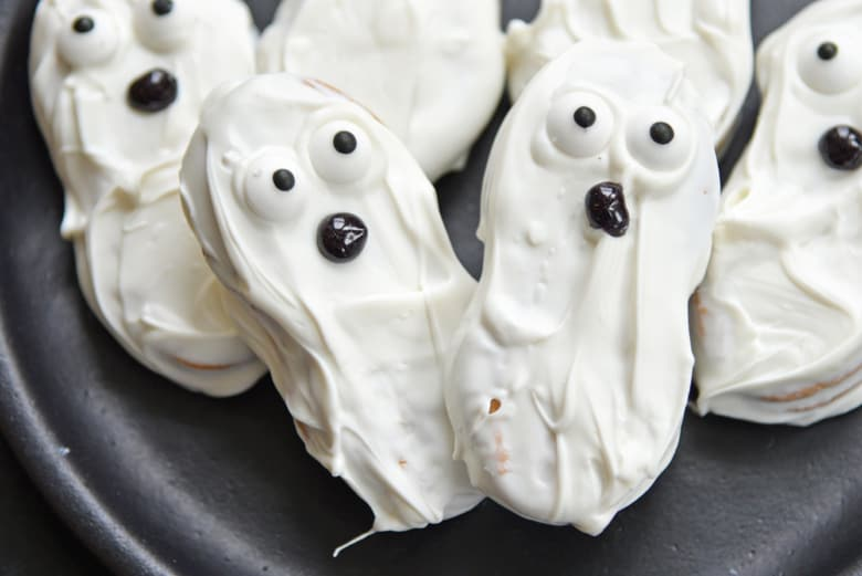 Close up of no bake ghost cookies