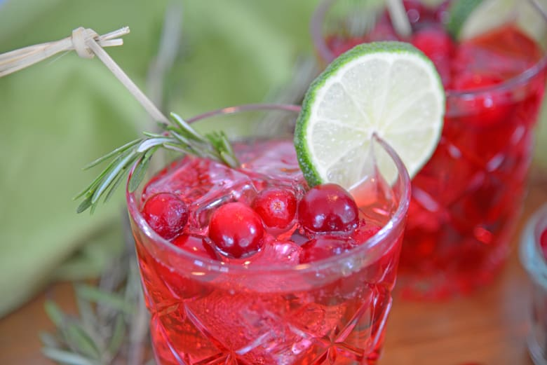 Cocktail glass with fresh cranberries, rosemary and lime slice