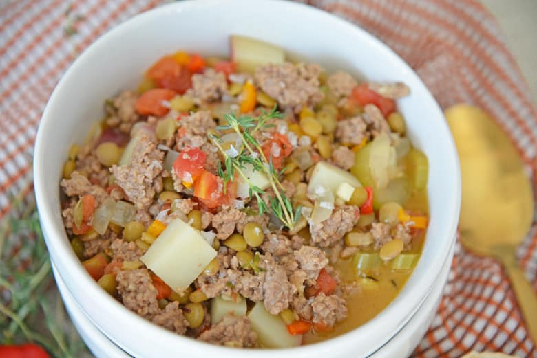 Bowl of ground lamb stew
