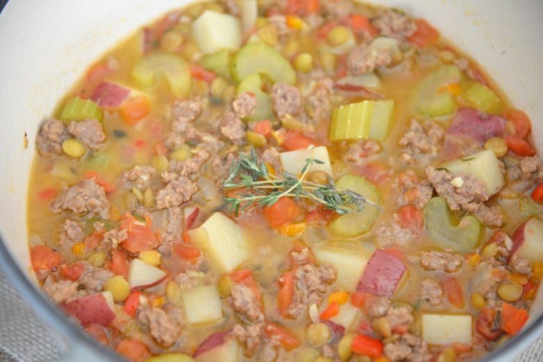 Ground lamb stew with celery, potatoes, carrots and thyme