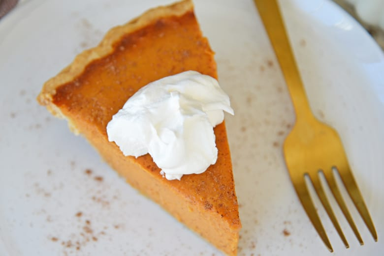 Close up angle view of pumpkin pie