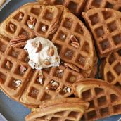 overhead of pumpkin waffles