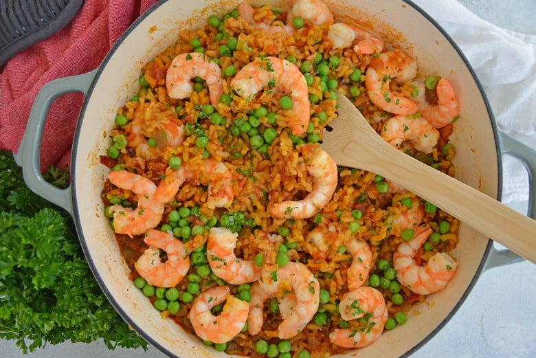 Bowl of shrimp paella