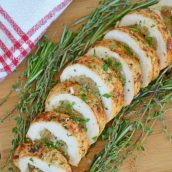 stuffed turkey breast on a cutting board