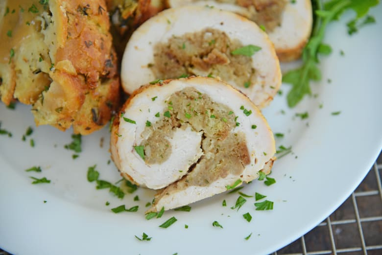 Rolled stuffed turkey breast