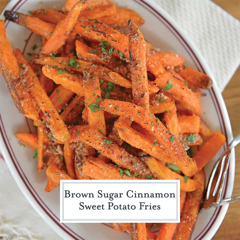 Close up of sweet potato fries with cinnamon sugar topping