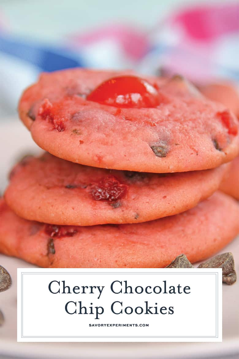 Close up of stacked cherry chocolate chip cookies with text overlay