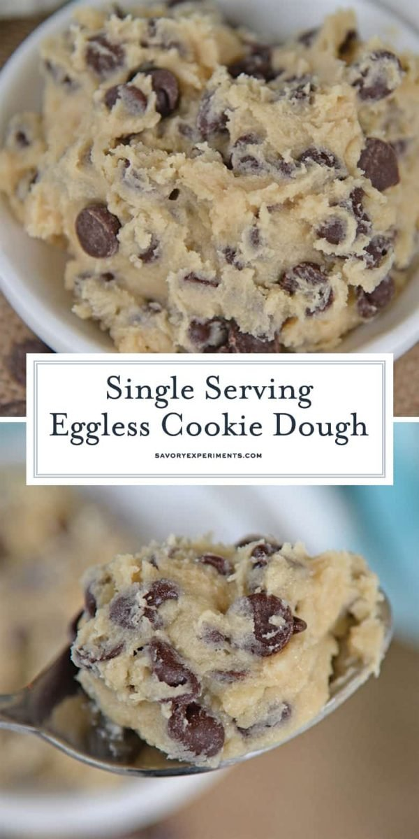Eggless cookie dough for pinterest- bowl and spoon