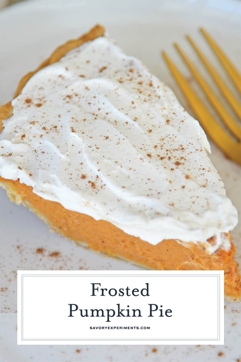 Frosted pumpkin pie slice for Pinterest