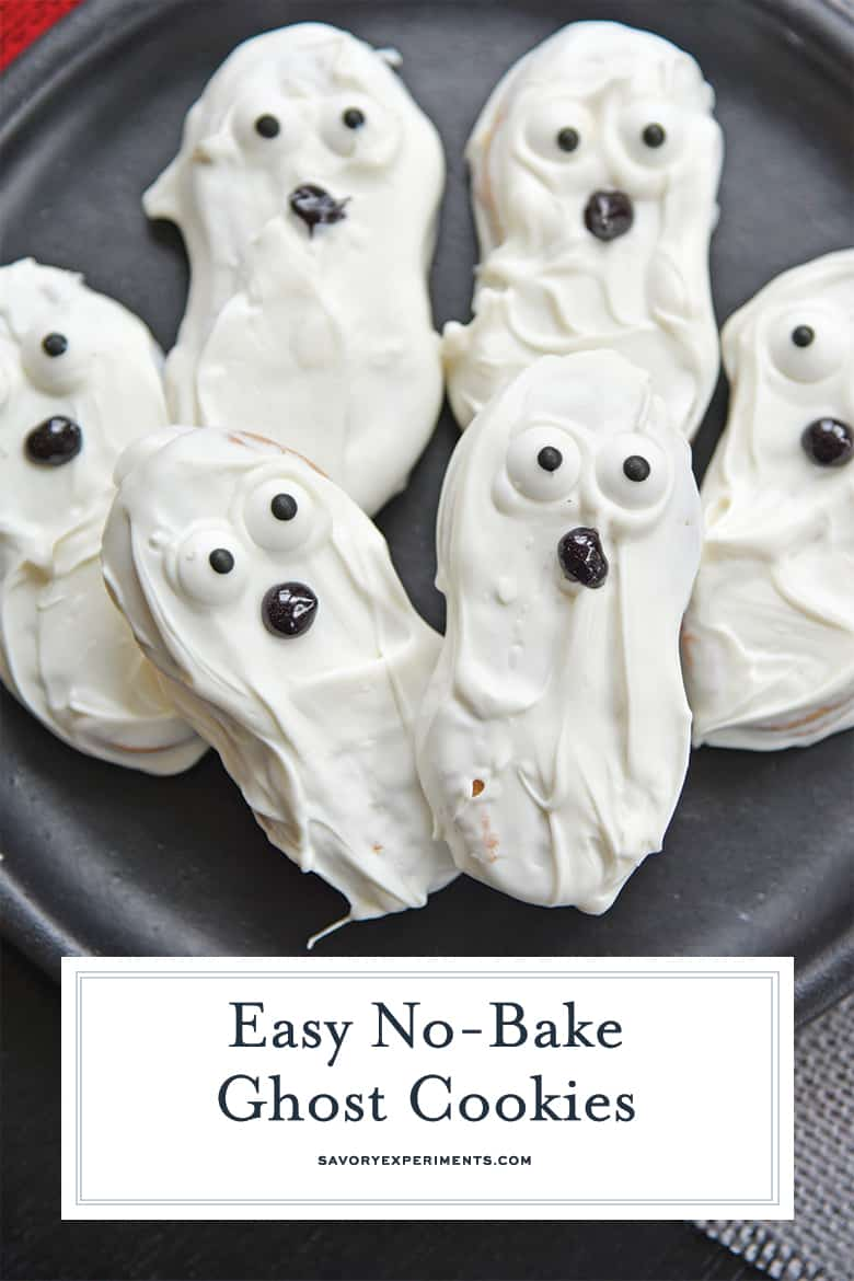 Close up of ghost halloween cookies