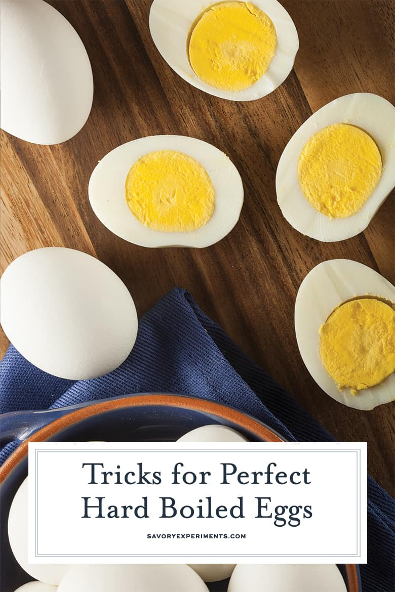 Halved hard boiled eggs with creamy yellow yolks