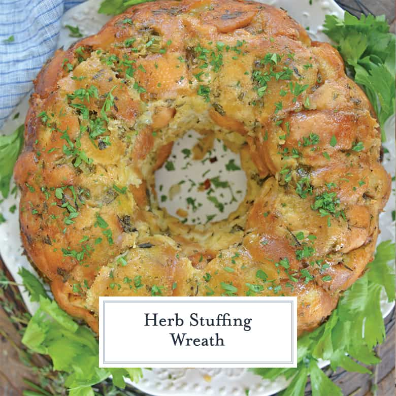 Overhead of herb stuffing wreath with chopped parsley and celery leaves
