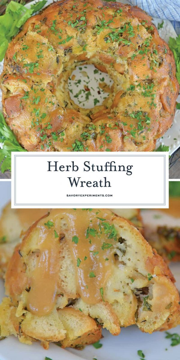 Herb stuffing wreath for Pinterest