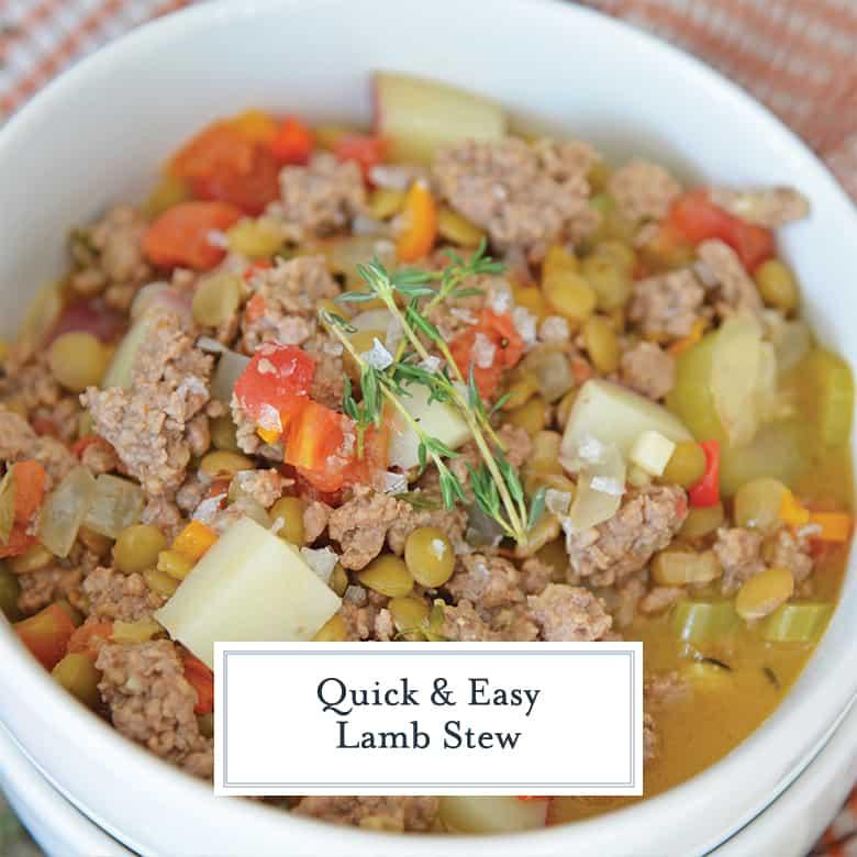 Close up of lamb stew using ground lamb