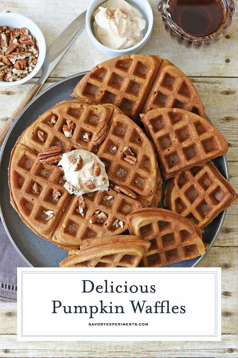 Overhead pumpkin waffles for pinterest