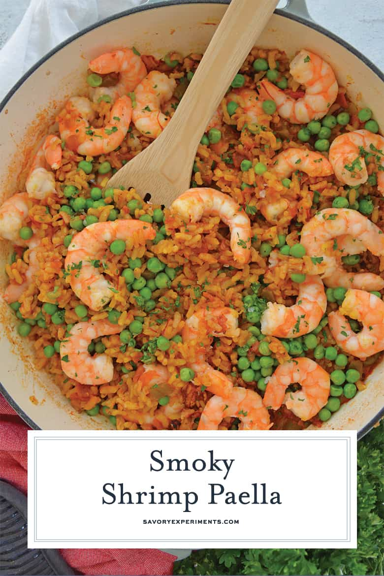 Close up of shrimp paella for pinterest