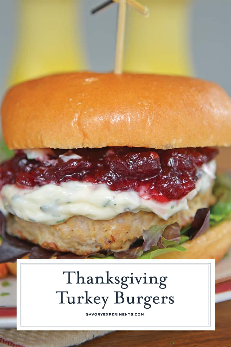Close up of Thanksgiving Turkey Burgers for Pinterest
