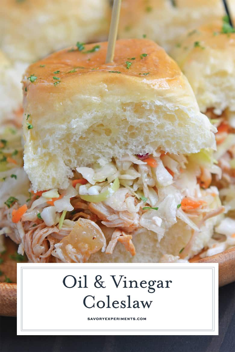 Vinegar Coleslaw on a BBQ Chicken Slider