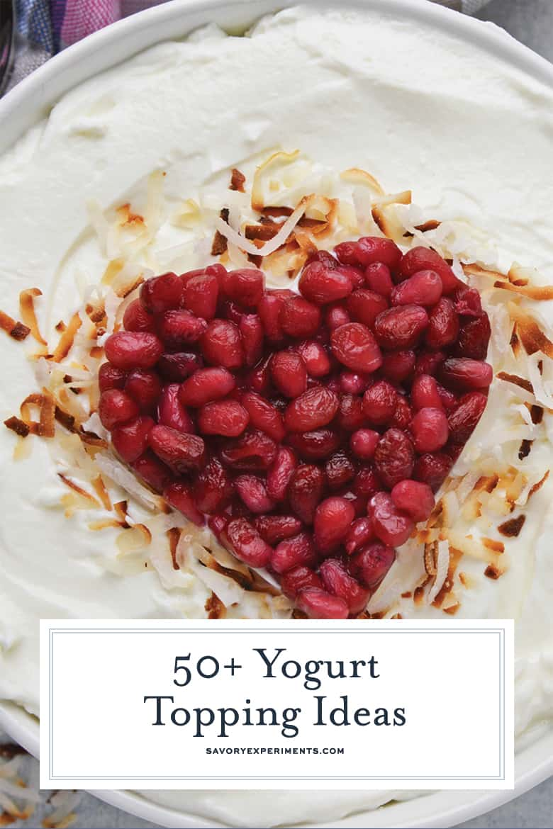 Close up of pomegranate and toasted coconut on a yogurt bowl