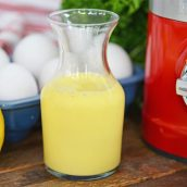 glass jar of hollandaise