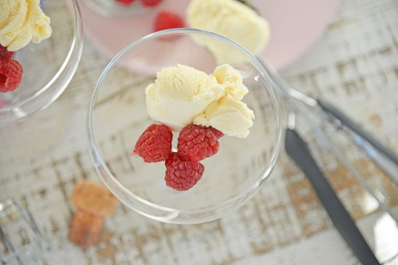 Close up of ice cream and raspberries
