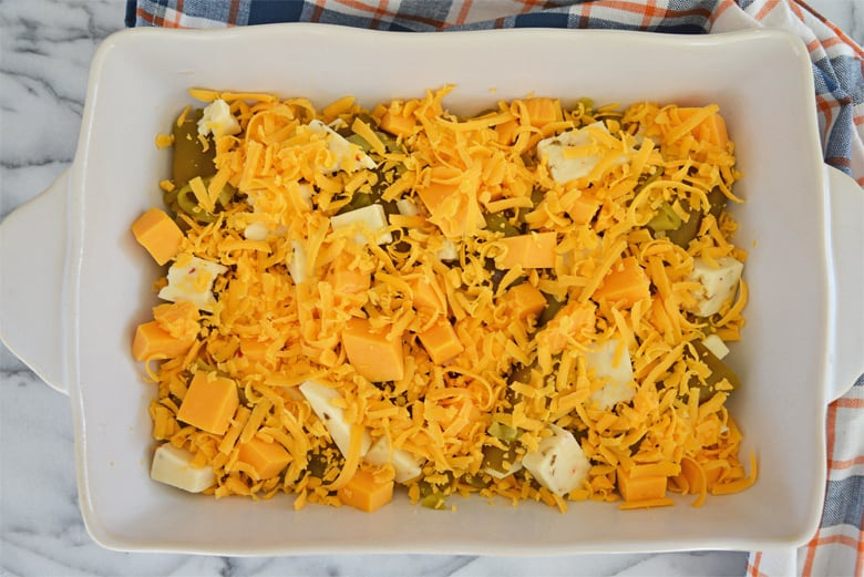 Cheese and green chiles in a baking dish