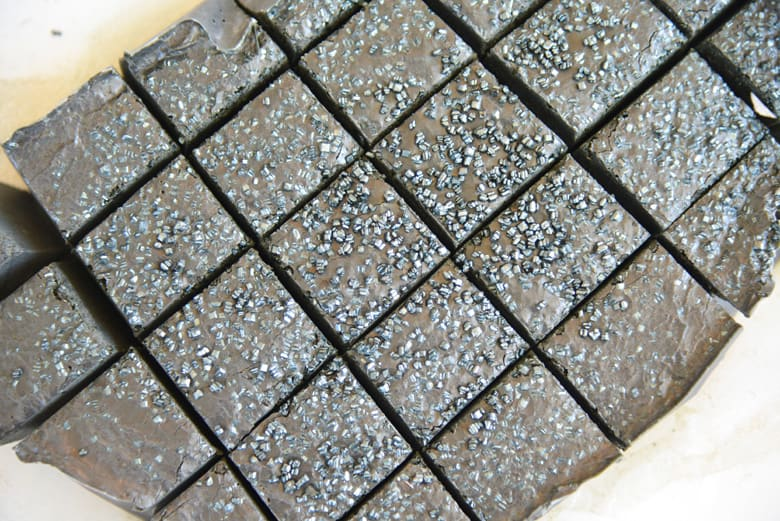 Black fudge with sprinkles cut into squares