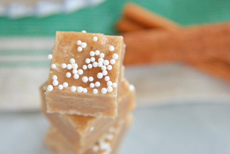 close up of a square of gingerbread fudge