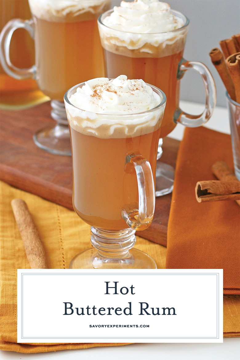 Hot buttered rum with whipped cream for Pinterest