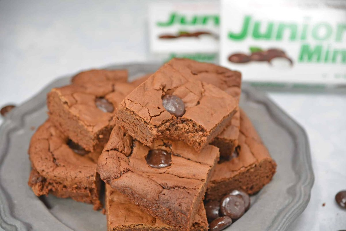 Junior Mint Brownies on a Silver Platter