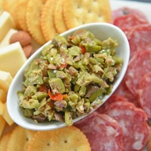 Olive Tapenade on charcuterie platter