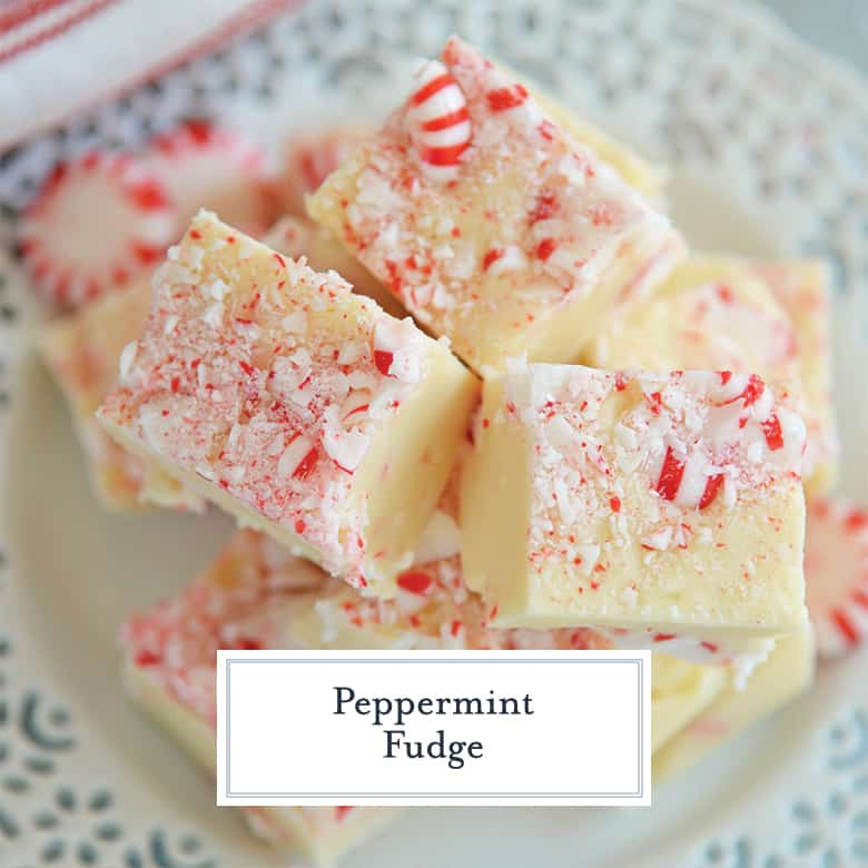Overhead close up of peppermint fudge on a white serving plate