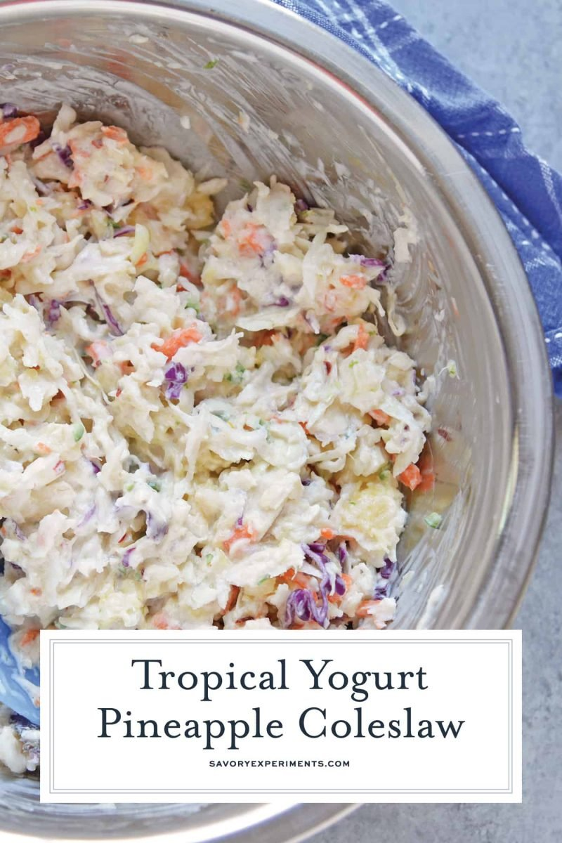 A bowl of creamy yogurt coleslaw with pineapples