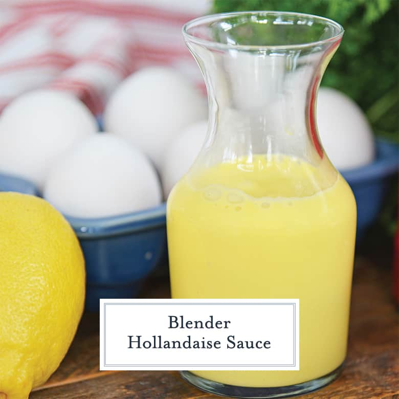 Blender Hollandaise Sauce in a glass carafe with fresh eggs and lemon