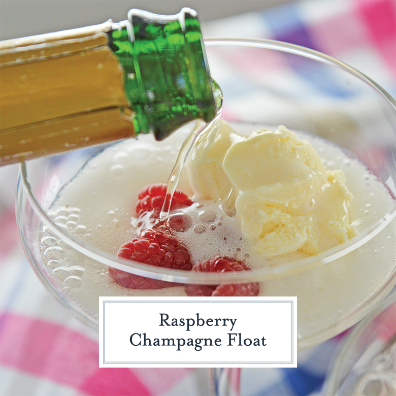 Champagne pouring into a glass with ice cream and raspberries