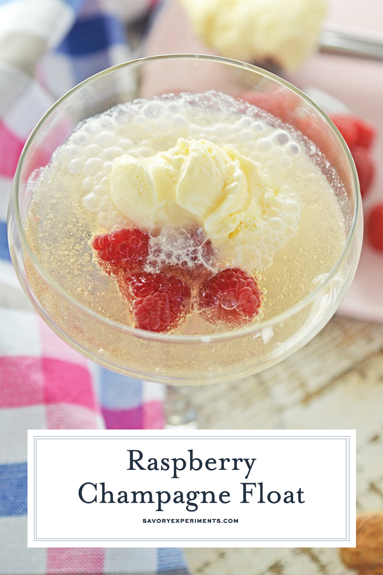 Sparkling wine cocktail with ice cream and fresh fruit