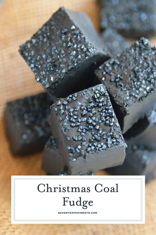 Close up of black Christmas fudge