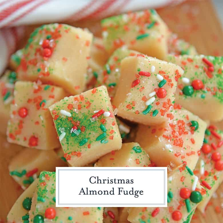 Close up of Christmas fudge with red, green and white sprinkles
