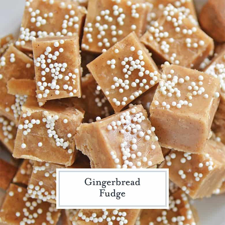Close up of old fashioned gingerbread fudge with white candy imperials on top