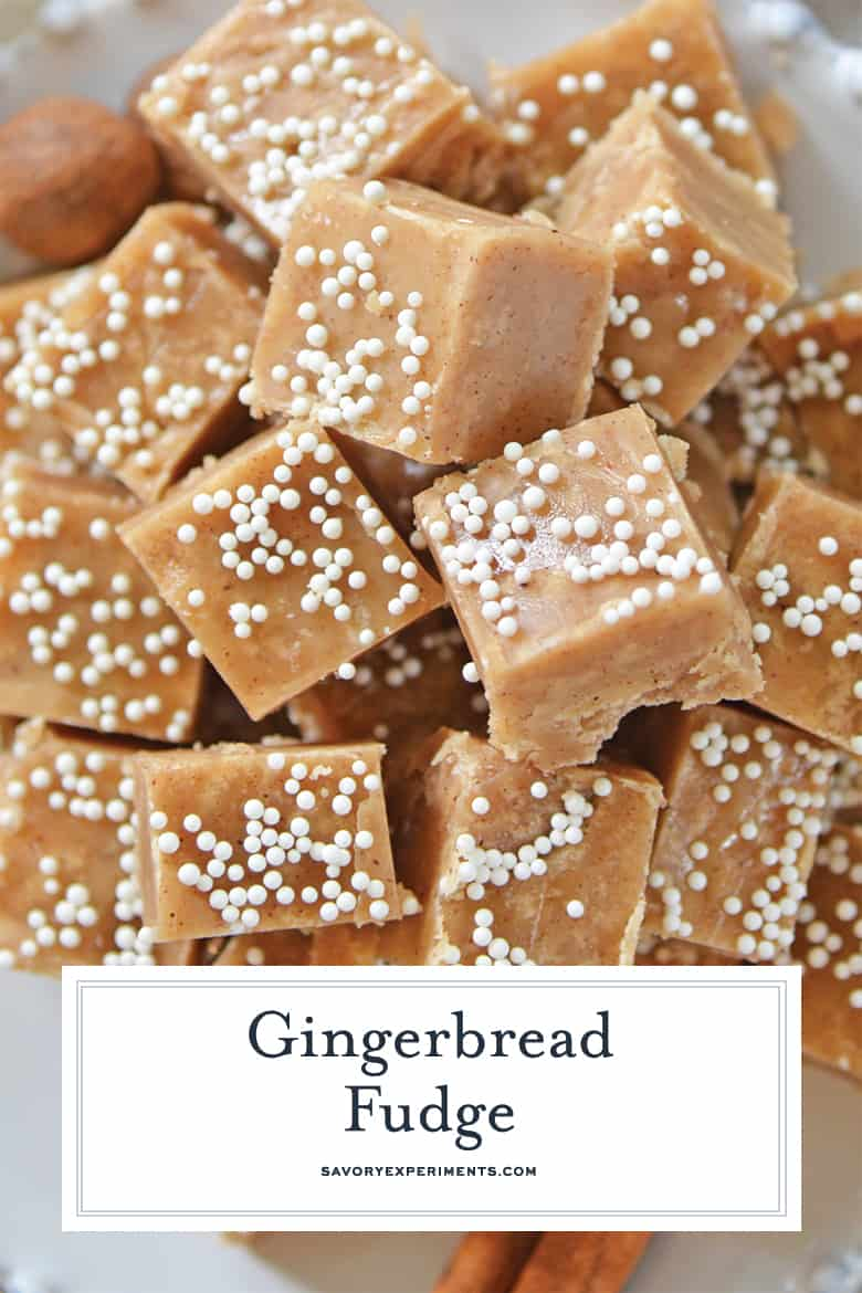 Close up of gingerbread fudge for pinterest