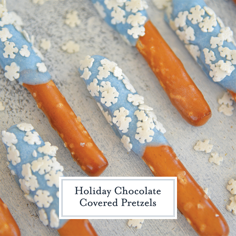 Close up of chocolate covered pretzels with blue and snowflakes