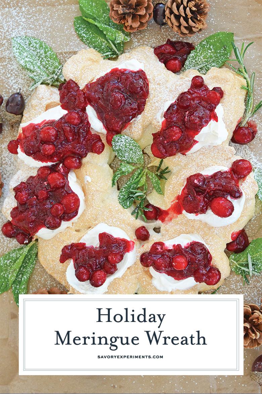 Holiday meringue wreath for pinterest