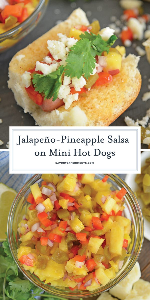 Mini Hot Dogs with Jalapeno Pineapple Salsa for Pinterest