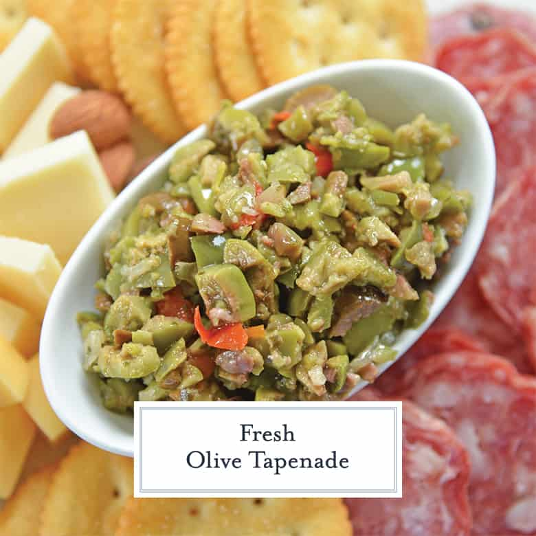 Close up overhead of fresh olive tapenade
