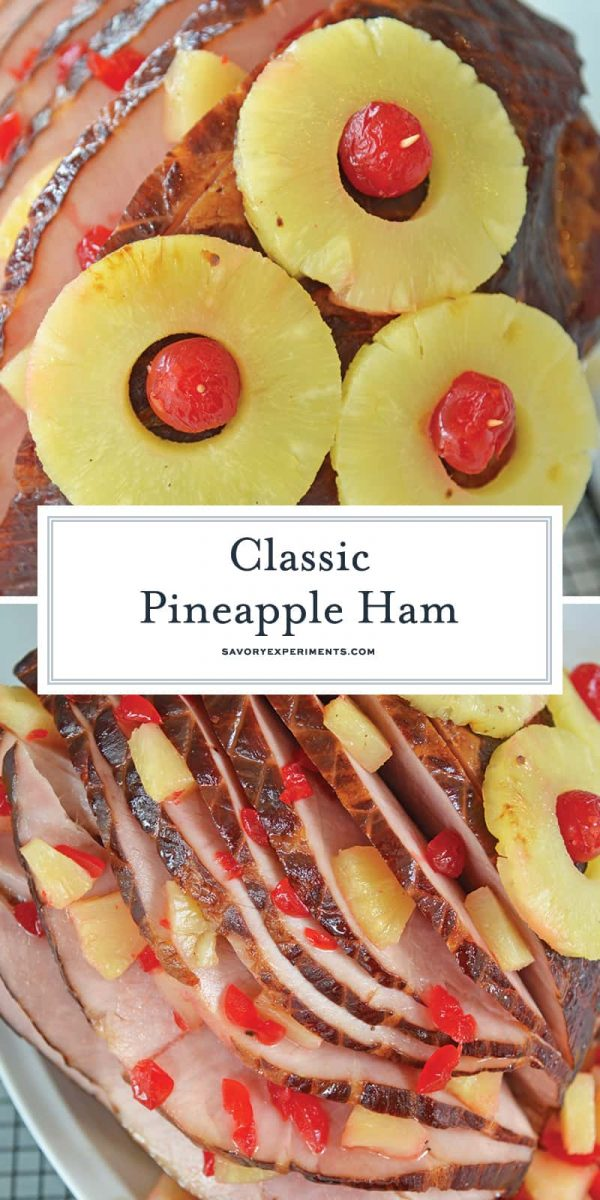 Classic pineapple ham with cherries for Pinterest